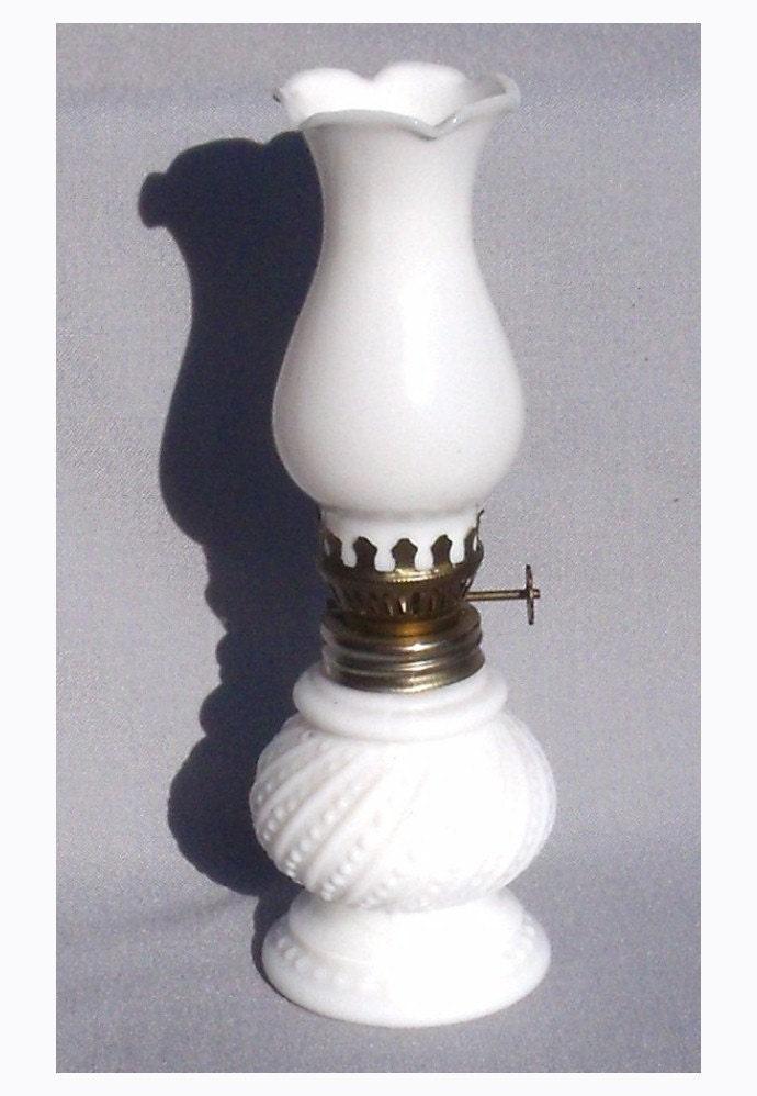 vintage milk glass oil lamp