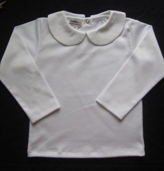 White shirt long sleeve peter pan collar szs 6m12m2t3t4t for White cotton shirt peter pan collar