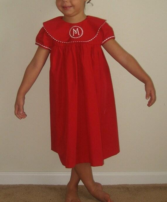 Christmas dresses for toddler, girls, infants, Girl's red christmas dress, FREE Monogramming