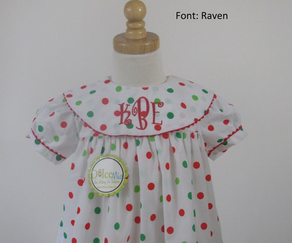 Monogrammed Christmas dress for girls or babies, Christmas Float dress for babies and girls, Polka dots chrismtas dress up to sz 7/8X