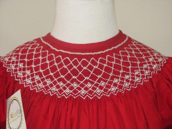 Red Smocked Christmas dress smocked bishop for girl,infant baby, christmas smocking dress sz 5T
