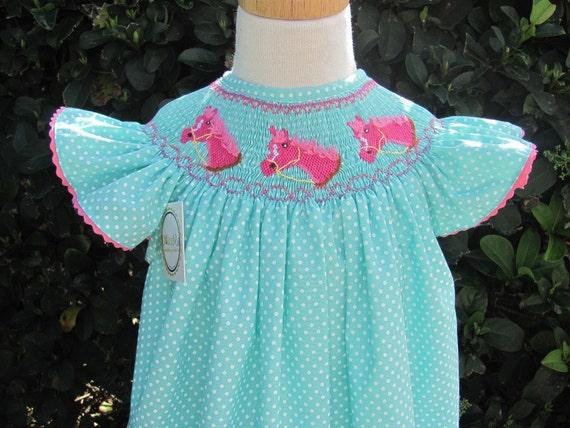 Baby girl smocked dresses,  Smocked horses dress, sz 12m SALE