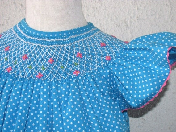 Bishop smocked dress for girls and babies - blue with white dots fabric