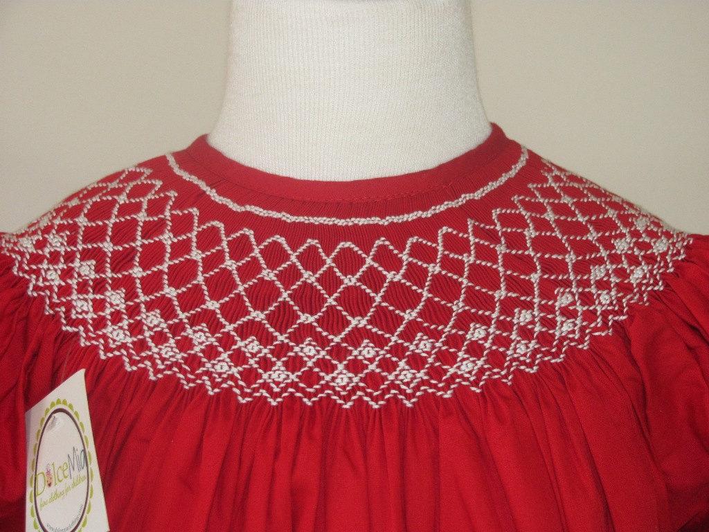 Red Smocked Christmas dress smocked bishop for by handsmocked