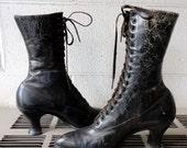 SALE Antique Boots Edwardian Womens Lace Up Boots Geo D Witt Girl Graduate 1905