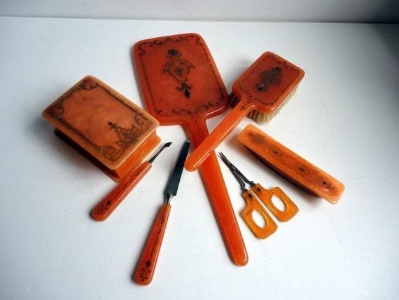 Vintage Celluloid Vanity Set Honey Amber 7 pc Set 1940s