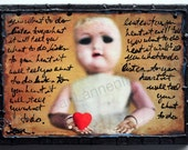 OOAK, Small Red Heart in Hand, Orig Altered Photo on Canvas 4 Valentines Day w/hand writing Tom Petty Lyrics Listen To Heart By Jean Lannen