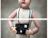 Francine Doll and Camera, Photograph, DUO Fine Art Print, Spooky Creepy Old Vintage French Doll toy camera By Jean Lannen, The Other Jeanie
