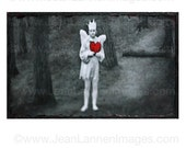 Guardian Angel Ruby Red Heart Valentines - Photograph White Angel Wings Crown in Grey Misty Eerie Dark Woods Forest by Jean Lannen