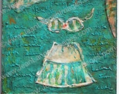 I Feel Charming Original Mixed Media Painting 6x6 on Wood Panel, Bikini Top Mini Skirt, Sea Foam Green Aqua Teal, Spring By Jean Lannen