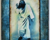 OOAK Todd Rundgren Orig Altered Photo on Canvas Taken During Fascist Christ Video Rock and Roll with Song Lyrics Blue Cream - By Jean Lannen