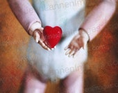 LOVE Red Heart, Orig Altered Photo on Canvas, Creepy Goth Antique French Doll Holding Valentines Day Heart, Hand Painted  by Jean Lannen