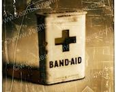 Band Aid Box - Photogaphic Print Still Life of Retro Vintage Antique Box, Sepia, Tea Brown, Cream Texture by Jean Lannen