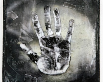 My Helping Hand, one of a kind, Orig Altered Photo on Canvas,8x8 Dark Shadows,Grey, Creepy Spooky X-Ray, Nightmare Textured By Jean Lannen