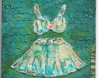 I Have Confidence, Original Mixed Media, 6x6 on Wood Panel, Bikini Top, Mini Skirt, Coral, Salmon, Turquoise, Aqua by Jean Lannen