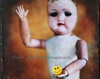 OOAK Smile, Orig Altered Photo on Canvas,8x8, Antique Creepy Scarey Antique Goth French Doll, Holding Sun Yellow Smiley Face by Jean Lannen
