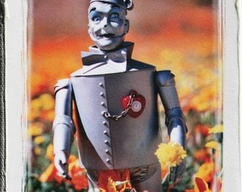 Wizard of OZ Tin Man, Oz Inspired, one of a kind, Altered Photo on Canvas, Valentines Day, Ruby Red Heart, Aqua Sky, Poppies, By Jean Lannen