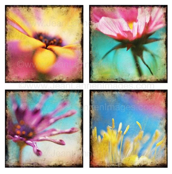 Flower Bouquet of Joy - Floral Vintage Old Style - Fine Art Print (4) images Impressionistic, Teal, Sky Blue, Pink Photo By Jean Lannen