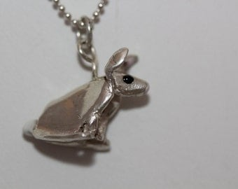 Cotton Tail Bunny Sterling Silver Necklace