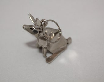 Rabbit Key Chain Sterling Silver