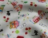 Kawaii Cat Town Cotton Print Fabric (Cream) - Half Yard