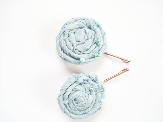 2 Sky Blue Rolled Flower Bobby Pin Hair Accessories - Wedding,Dance,Church,Every Day, Ect.