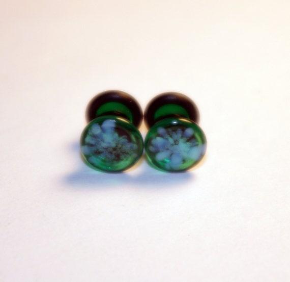 4g Green and Light pattern glass EAR plugs BODY JEWELRY 5mm handmade new 4 gauge