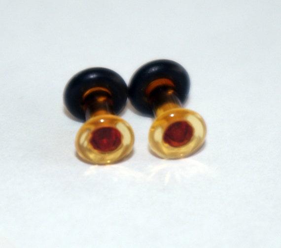 10g Amber Glass Plugs Body Jewelry 10 Gauge 2.5mm Piercing