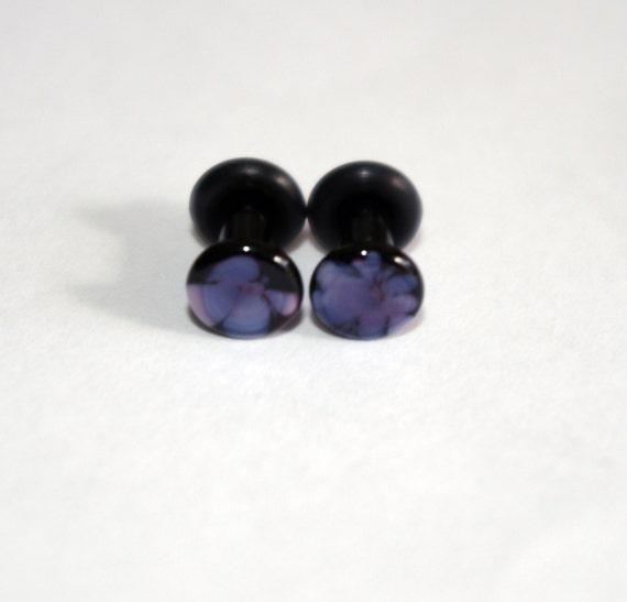 8g Black and Purple Pattern Glass ear plugs body JEWELRY 3mm handmade 8 gauge