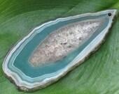 Green Onyx Agate Druzy Geode Pendant Bead