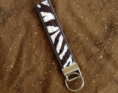 Brown and White Zebra Key Fob, Zebra Print, Key Chain, Wristlet Key Chain
