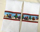 Teddy Bear Christmas Kitchen Towels, Christmas Holiday Towels, Teddy Bears, Toys, Kitchen Towels, White