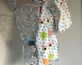 Polka Dotted Fleece Scarf, Fleece, Warm, Colorful, White, Brown, Pastel Colors