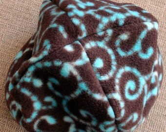 Warm Fleece Hat, Brown and Aqua Soft Fleece Hat, Cap, Brown, Aqua, Swirls, Warm