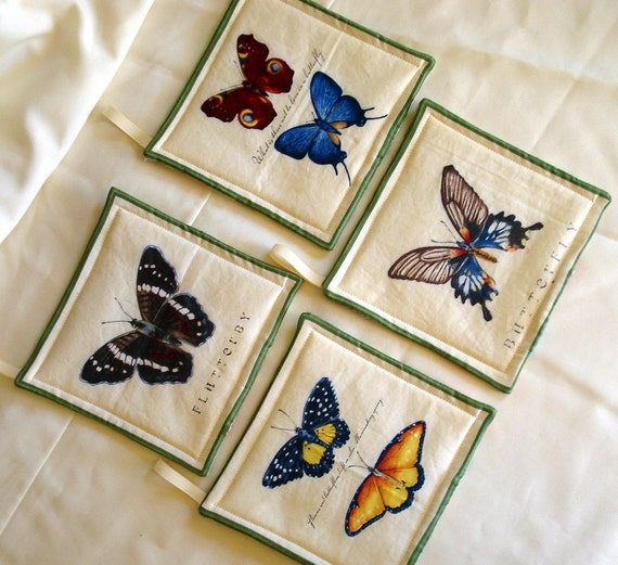 Butterfly Potholders, Coasters, Kitchen, Dining, Entertain, Cream, Green
