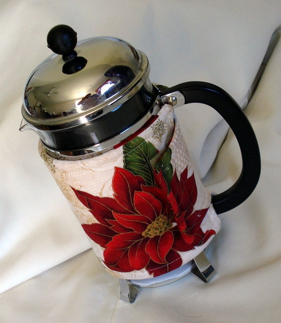 Poinsettia French Coffee Press Cozy, Christmas, Cream, Red, Coffee Cozy