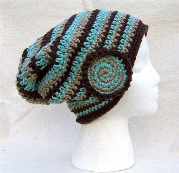 FROSTED CHOCOLATE FLIP a DO SLOUCH slouchy beanie hat by StRiNgLy ThiNgS