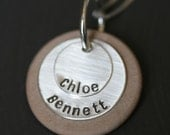 Personalized Stacking Necklace in Sterling Silver and Wood - 2 Discs