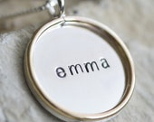 5/8 inch Two-tone Double-Sided Custom Necklace - Sterling Silver Pendant with Gold Filled Rim - Date on Back