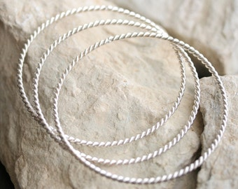 Totally Twisted Sterling Silver Bangles - Set of 3