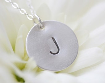 Simply Stated Hand Stamped Sterling Silver Initial Pendant Necklace