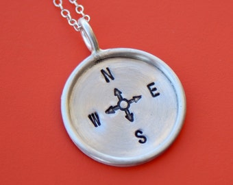 Compass - Hand Stamped Sterling Disc with Longitude & Latitude - Stamping on BOTH Sides