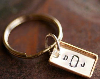 Personalized - Rectangle - Framed Sterling Silver Key Ring with Gold Filled Rim - Polished - Stamping on BOTH Sides