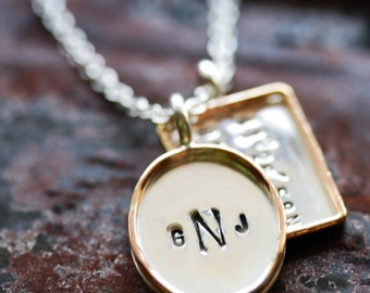 Personalized Hand Stamped Sterling Silver with Gold Filled Rim - Rectangle and Oval Pendants - Stamping on BOTH Sides