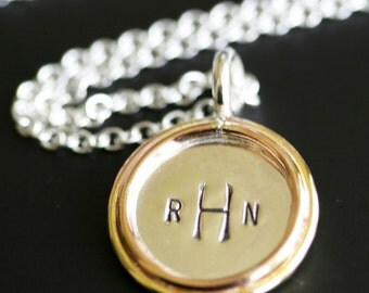 SALE TODAY -  Medium Single-Sided Sterling Silver Personalized Pendant  with Double Gold Filled Rim Necklace