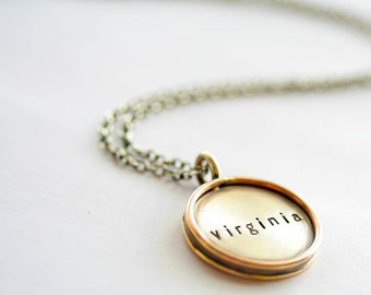 7/8 Inch Distressed Two Tone - Sterling and Gold Filled - Personalized Rimmed Necklace -  Stamping on BOTH Sides