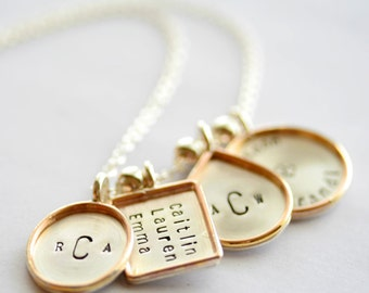 Personalized Oval  Rectangle Teardrop & Circle Pendant Necklace - Gold Filled Rims - Stamping on BOTH Sides