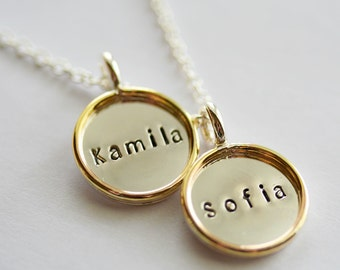 Two 5/8 Inch Sterling Silver Initial/Name Pendants with Necklace - Sterling Disc with Gold Filled Rim - Stamping on BOTH Sides
