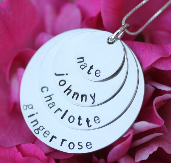 Personalized Stacking Necklace in Sterling Silver - 4 Discs