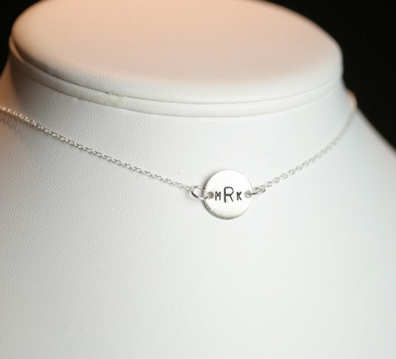 Custom Simplicity in Sterling Silver - Hand Stamped 1/2 Inch Disc Choker